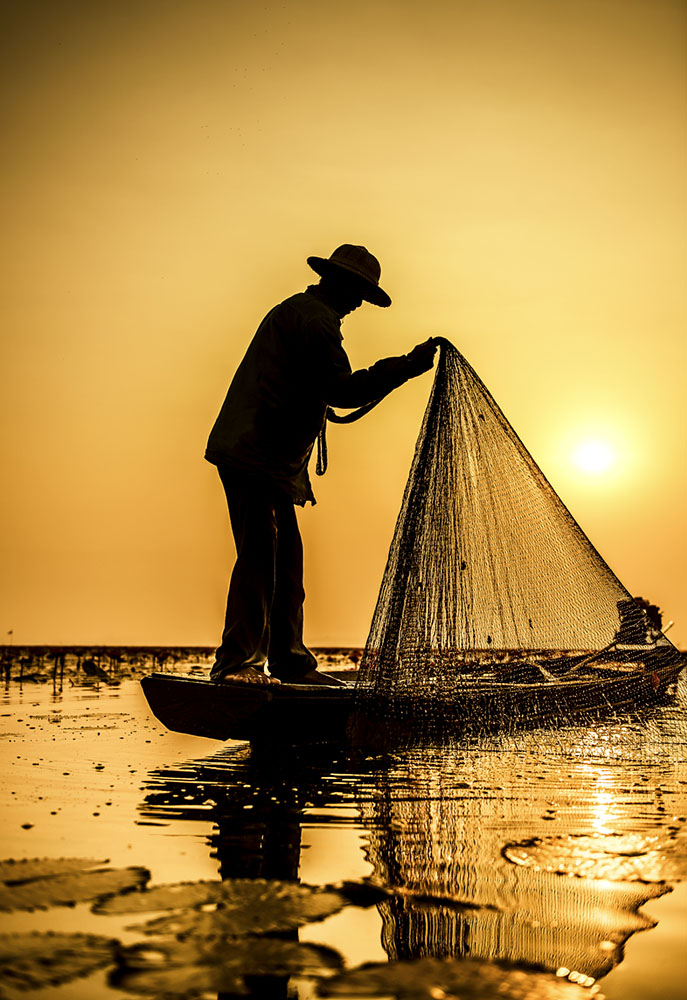 500px Photo ID: 96900887 - Fisherman of Lake in action when fishing, Thailand